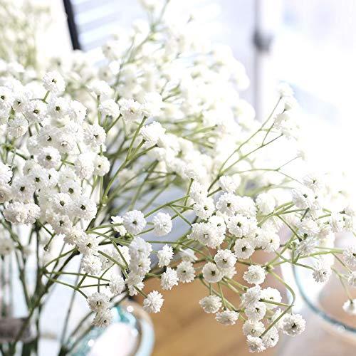Boho & Bramble Babys Breath Artificial Flowers Gypsophila, Real Touch Life-Like, Wedding Home Christmas DIY Arrangement Bouquet Decor Home Garden, 4 pcs, Long stem, White