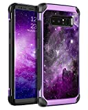 BENTOBEN Samsung Galaxy Note 8 Case, Slim Fit Glow in The Dark 2 in 1 Heavy Duty Rugged Hybrid Soft TPU Bumper Hard PC Shockproof Protective Cases for Samsung Galaxy Note 8 6.3' (2017), Purple Nebula