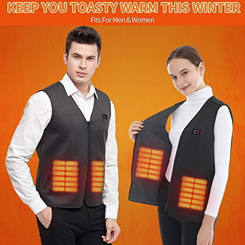 Fasola Heated Vest USB, Electric Vest Warmer Gilet for Men/Women, Lightweight Washable Heated Clothes With 3 Levels Heat Settings, Heating Jacket for Motorcycle Fishing Skiing(NO BATTERY)