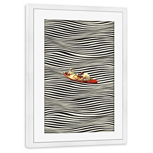 artboxONE Poster mit Rahmen weiß 45x30 cm Illusionary Boat Ride von Taudalpoi - gerahmtes Poster
