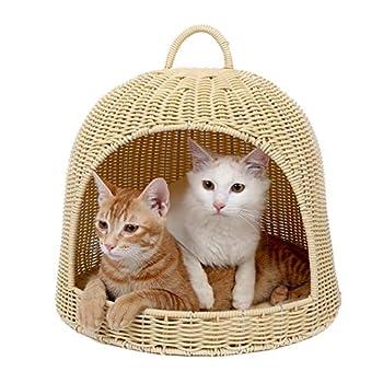 ZWW Lit Osier pour Chat, Lavable PE Rotin Moderne Petit Animal Maison/Panier Portable Dôme Transporteur De Chat-Intérieur/Extérieur