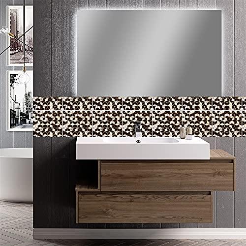 azulejos adhesivos cocina,10 piezas de pegatinas de azulejos de mármol en blanco y negro tridimensionales, pegatinas de pared de fondo de baño de cocina de sala de estar -20cm