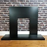 Furniture For The Home Fireplace Back Panel & Hearth Set in Black Electric Fire Surround 48 inch