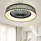 PADMA Modern LED Ceiling Fan with Light, Dimmable Fan Ceiling Light with Remote Control, Invisible Fan Light for Living Room, Bedroom, Children's Room, Black-White, 3-Speed and Colour, 3000-6500K