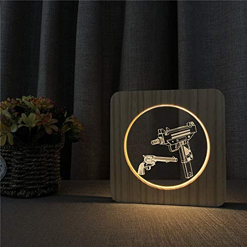 Only 1 Piece Submachine Gun Model 3D LED Acrylic Wood Night Light Childrens Room Decoration Table lamp Switch Control Engraving lamp