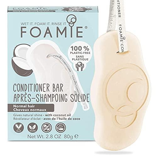 Foamie Fester Conditioner für normales Haar und Locken mit Kokosnussöl, 100% vegan, plastikfrei und ohne Tierversuche, wirkt antistatisch um Frizz vorzubeugen, 80g