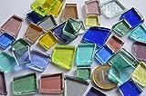 100g Glas Mosaiksteine unregelm. transparent bunt ca. 40 St.