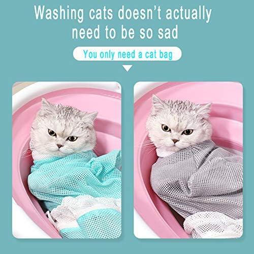 9108TDCQ Sac de bain en maille pour chat, réglable, multifonctionnel, respirant, sac de toilettage, sac de douche pour chat, sac de retenue pour les médicaments, anti-morsure et anti-rayures pour chat