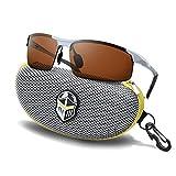 Polarized Sports Sunglasses for Men - Daytime Anti-Glare TAC Copper Lens - Metal Semi-Rimless Frame - Driving Fishing Shooting - Knight Visor (Silver Frame Copper Lens)