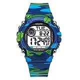 AZLAND 7 Colors Flashing, 3 Multiple Alarms Reminder Sports Kids Wristwatch Waterproof Boys Girls Digital Watches (Camo)
