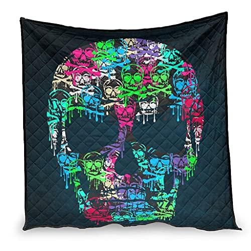 IOVEQG Edredón de verano colorido cráneo manta de lujo para decoración del hogar sofá sofá blanco 200x230cm