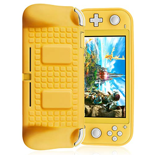 Upgrade Fyoung Cover Case for Nintendo Switch Lite Built in 2 Game Card Slots, Protective TPU Cover Case for Switch Lite (Can Charge with The Case on) (Yellow)