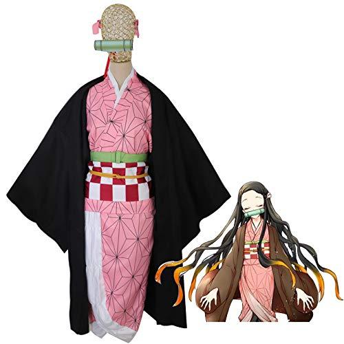 Anime Japonés Demon Slayer: Kimetsu No Yaiba Kamado Nezuko Cosplay Disfraz De Mujer, Conjunto Completo De Disfraces De Halloween