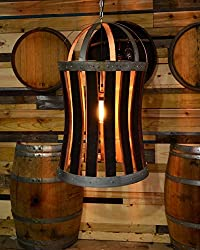 wine barrel stave crafts - chandelier