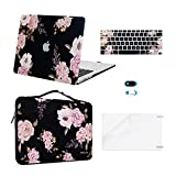 MOSISO Compatible with MacBook Air 13 inch Case (A1369 & A1466, Older Version 2010-2017 Release), Plastic Peony Hard Shell Case&Carrying Sleeve Bag&Keyboard Cover&Webcam Cover&Screen Protector, Black