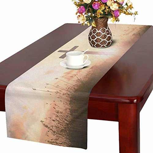 InterestPrint Easter Concept Silhouette Cross on Meadow Sunrise Table Runner Linen & Cotton Cloth Placemat Home Decor for Kitchen Dining Wedding Party 16 x 72 Inches