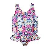 OBEEII Baby Junge Mädchen Badeanzug mit Schwimmhilfe Sonnenschutz Schwimmend Bademode mit Regulierbarem Auftrieb Schwimmkraft Schwimmanzug Sommer Badebekleidung für Kinder Blumendruck 18-24 Monate