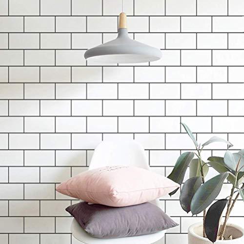 Piastrelle in ceramica PVC impermeabile, 10 x 0,6 m, motivo mattone, impermeabile, carta da parati decorativa Peel Stick Wallpaper