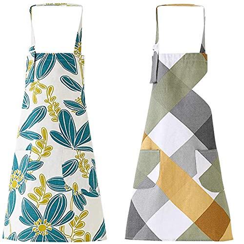 SHINROAD 2 Pack Küche Kochschürzen, verstellbare Baumwolle Leinen Koch Lätzchen Blume Rhombus Muster Küchenschürzen mit Taschen für Männer & Frauen, Maschinenwaschbar