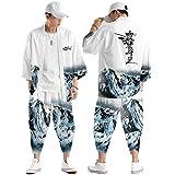 Conjunto Chaqueta Kimono para Hombre,Pantalones Harem Casuales,Capa con Estampado Montaña Nevada a La Moda,Ropa Calle Personalizada para Primavera y Verano S-6XL,White-Large