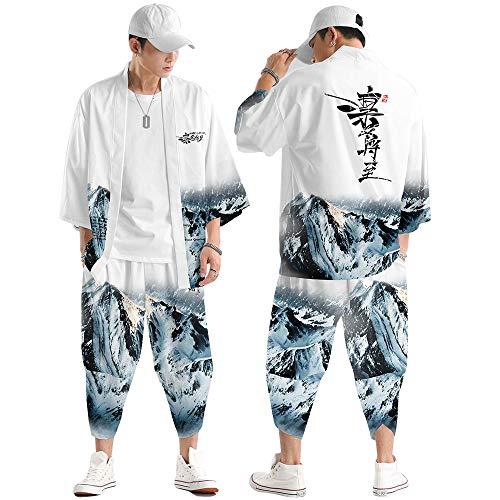 Conjunto Chaqueta Kimono para Hombre,Pantalones Harem Casuales,Capa con Estampado Montaña Nevada a...