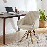 Volans Mid Century Modern Swivel Accent Desk Chair with Hollow Brushed...