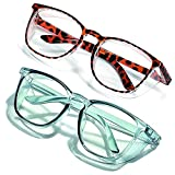 2Pack Anti Fog Safety Glasses ,Stylish Safety Goggles for Women Men Nurses ,with Side Shields Eye Protection (blue+leopard)