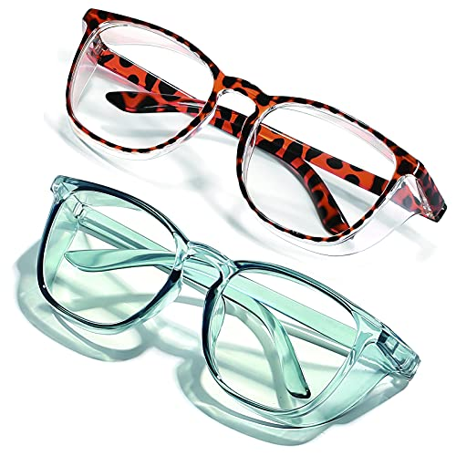 2pack Anti Fog Safety Glasses Safety Goggles For Women Men Nurses Adult With Side Shields Protective Eyewear Eye Protection Blue Light Blocking Scratch Resistant UV Protection(Leopard grain blue)