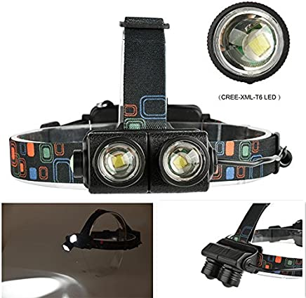 Studyset Head Lamp Flexible Zoom 4 Modes Bright LED 1600LM 20W Dual XML-T6 for Night Outdoor Activities