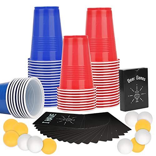 Herefun Bicchieri di Birra Pong, Beer Pong Party Set, Gioco di Birra Beer Pong, 120 Beer Pong Cups + 12 Palle + 54 Carta, Plastica Rosso / Blu Tazze, Gioco Alcolico per Adulti Festa