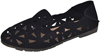 Summer New Women's Shoes Wear Fashion Korean Version of The Round Head Flat with Anti-Slip Two Wear Deep Mouth Breathable Casual Tide Shoes (Color : Black, Size : 39)