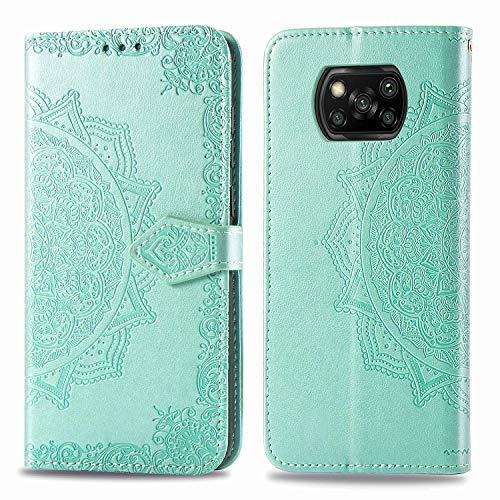 Coque pour Xiaomi PocoX3 NFC Prime PU Cuir Flip Folio Housse Étui Cover Case Wallet Portefeuille Support Dragonne Fermeture Magnétique pour Xiaomi PocoX3 NFC - JESD012424 Vert