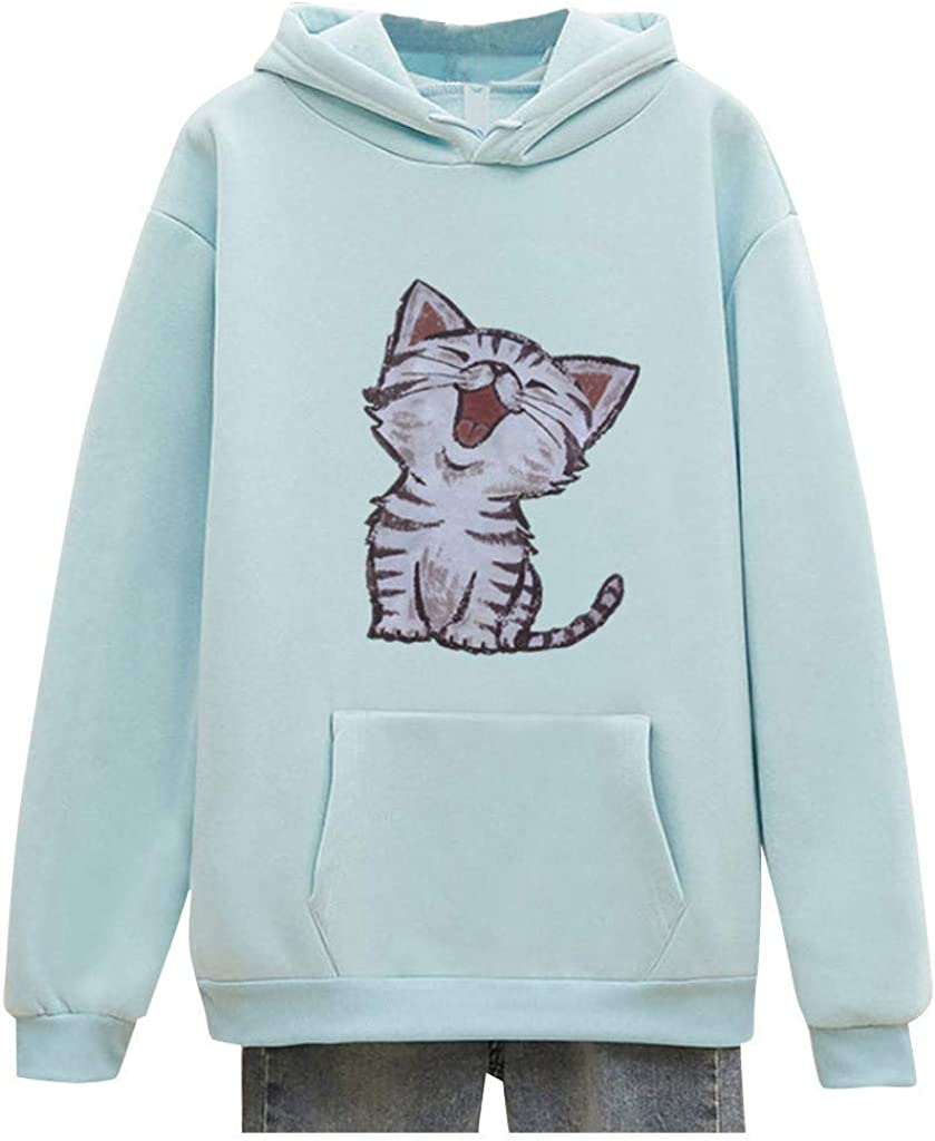 Funny Sweatshirts with Pocket, Women's Long Sleeve Hoodies Cat P