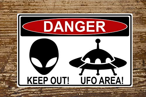 The454esa Danger UFO Area Funny Highway Aluminum Sign - Indoor or Outdoor Use/Man Cave Decor/Gift Novelty Sign Can be Personalized Keep Out/Geekery
