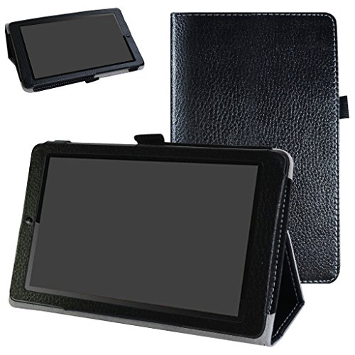MAMA MOUTH Huawei MediaPad T3 7 Case, PU Leather Folio 2-folding Stand Cover with Stylus Holder for 7.0' Huawei MediaPad T3 Tablet PC,Black