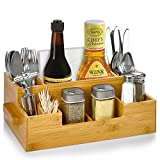 Bamboo Utensil Holder Wooden Caddy Set , Silverware Flatware Beer Tray For Spoons Knives Forks Napkins Chopsticks Condiments 10 Compartment Coffee Breakroom Kitchen Organizer Home