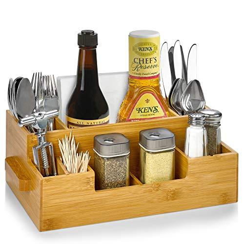 Lot de 10 compartiments en bambou pour ustensiles de cuisine, couverts, bière, cuillères, couteaux, fourchettes, serviettes, baguettes, condiments