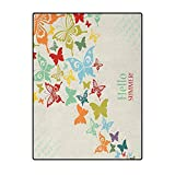 Butterflies Modern Rugs for Floor for Bedroom, Living Room, and Kitchen Vintage Background with Butterflies and Dots Hello Summer Greeting Happy Text Multicolor 6 x 7 Ft