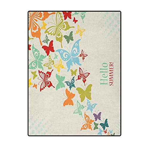 Butterflies Print Area Rug Comfy Bedroom Home Decorate Floor Kids Playing Mat Vintage Background with Butterflies and Dots Hello Summer Greeting Happy Text Multicolor 3 x 5 Ft