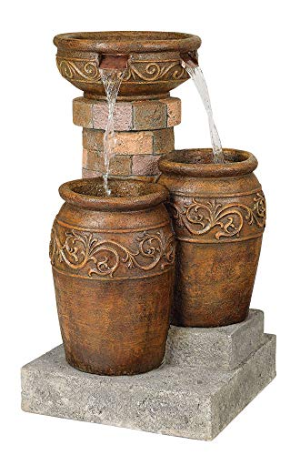 John Timberland Tuscan Outdoor Floor Water Fountain with Light LED 31 1/2' High Cascading for Yard Garden Patio Deck Home