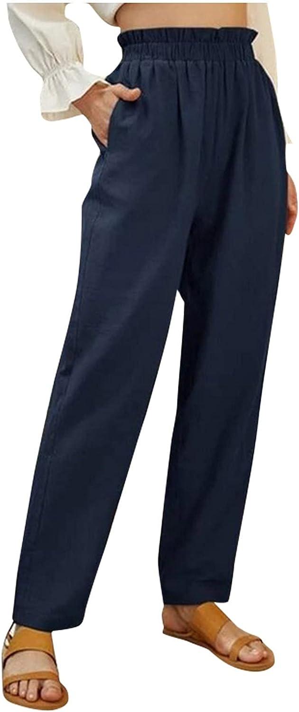 Women's Linen Trousers Solid High Waist Pants Elastic Waist Plus Size Pockets Wide Leg Loose Stretchy Palazzo Capri Pants