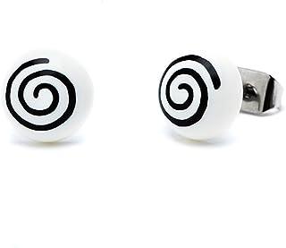 Chic-Net Spirale Orecchini a forma di mezza sfera 8 mm in acrilico orecchini Unisex bicolore in acciaio inox senza nichel