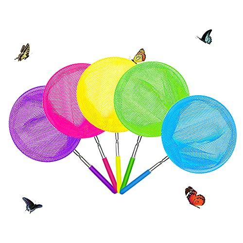 NAODONGLI Insect and Butterfly Net,Outdoor Toys Telescopic Fishing Nets Bug Nets Beach Toys Nets Outdoor Tools Nets Anti Slip Caterpillar Ladybird Nets(5 PCS)