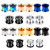 Beautidots 10 Pairs Screw Fit Ear Gauges Surgical Steel Tunnels CZ Ear Stretcher Plugs Body Piercing Jewelry for Women Men Size 2g