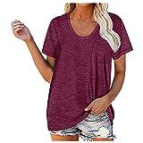 MARTINSHARK Camisa deportiva para mujer con cuello en V, camiseta de entrenamiento con corte normal se puede utilizar como camisa de correr, camisa deportiva y camisa funcional
