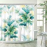 LIVILAN Tropischer Duschvorhang, grüne Palmblatt-Badezimmervorhänge-Set mit 12 Haken, Badezimmer-Dekoration, 183 x 183 cm