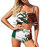 Bikini costume da bagno da donna con bandiera uccello-verme due pezzi costume da bagno ragazza luna di miele a vita alta con increspature Stile 1 XL