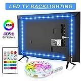 Bason TV LED Backlight, 13.09ft USB Led Lights Strip for 60-70 TV/Monitor Backlight, LED TV Lights with Remote, 4096 DIY Colors TV Bias Lighting for HDTV, PC,Updated.