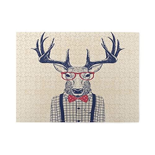 Rompecabezas de 500 piezas,ciervo disfrazado de nerd con camisa y lazo de jazz,obra de arte de juego de rompecabezas familiar grande para adultos y adolescentes