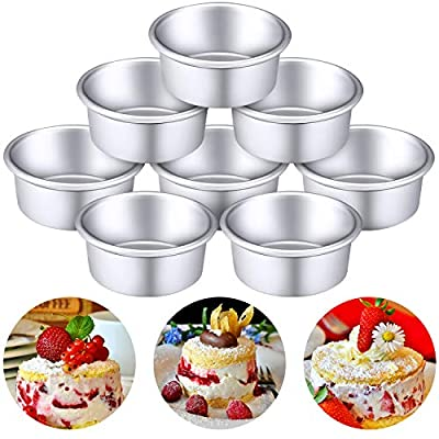 8 Pieces 4 Inch Round Aluminum Cake Pan Set Non-stick Round Cheesecake Baking Pans for Home Party Baking Supplies